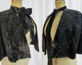 1800's Black Velvet Cape with Fantastic Beading - Jet Beads
