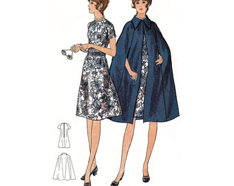 """1970 Cape with Collar & Raglan Sleeve Semi-fitted Flared Dress, Cape is Suitable For Even Plaids, Half-Size 18 1/2, Butterick 6091, Bust 41"""""""