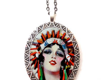 Art Deco Native American Necklace Pendant Silver Tone - Flapper Headdress 1920s Jazz Age