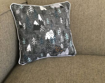 "Mountains, Trees, Outdoors Pillow in Gray and White with Chevron Backing - ""The Great Outdoors Pillow"""