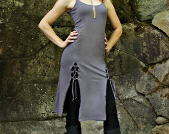 Tribal Tunic Dress-Women's clothes-yoga dress-womens tunic-boho tunic-tunic top-womens dresses-gray dress-unique dress-bohemian clothes-gray