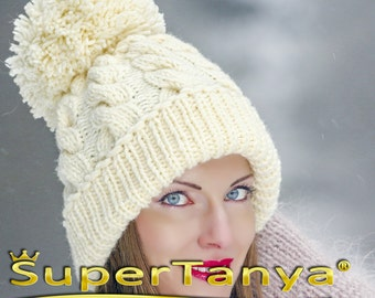 SUPERTANYA hand knitted soft wool hat with giant pom pom in ivory cream  by SuperTanya