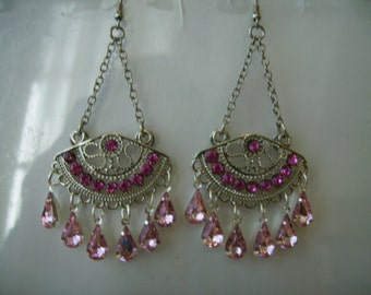 Silver Tone Chain Chandelier Earrings with Pink Rhinestones and Pink Crystal Teardrop Dangles