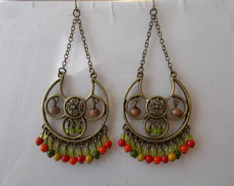 Bronze Tone Chandelier Earrings with Ornge, Ye;;ow and Green Color Dangles on a Bronze Tone Chain