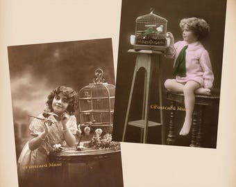 Child With A Bird Cage - 2 New 4x6 Vintage Image Photo Prints - CE088 CE87