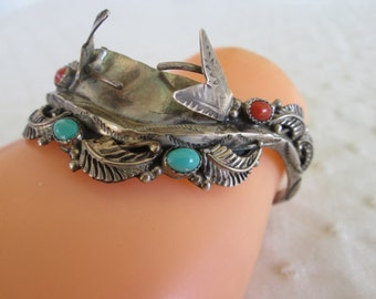 Old Pawn Watch Band Sterling Silver Turquoise Coral Cuff Small Navajo Native American