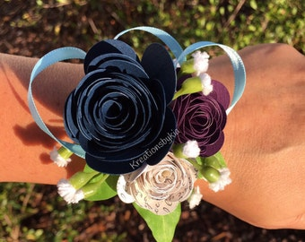 PAPER FLOWER CORSAGE / origami / paper flowers / corsage / wedding decorations / wristlet / prom /