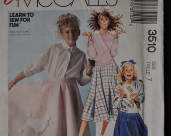 Vintage 1988 - Girl's Easy Poodle Skirt Pattern - McCall's #3510 - size 7 - UNCUT