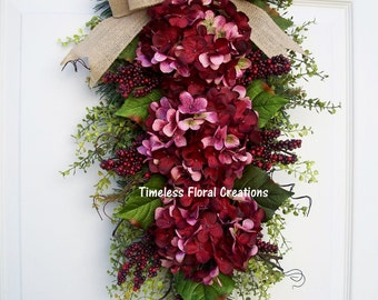 Fall~Hydrangea Wreath Swag~ Valentine~Cherry Kisses~Door Swag~Floral Swag~holiday Decorating~Timeless Floral Creations
