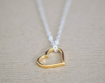 Heart Necklace - Heart Shape Jewelry - Love Jewelry - Gold Heart Pendant - Valentines Day Gift For Her - Silver and Gold Heart Necklace