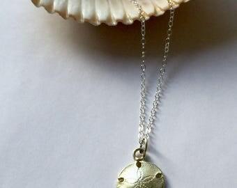 Sand dollar necklace, silver sand dollar charm, caste silver sand dollar, beach jewelry