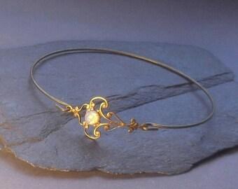 Art Nouveau OPAL BRACELET, opal bangle, real flower bangle, Vintage bracelets, bangles, gift for women, bracelets, Christmas gift,