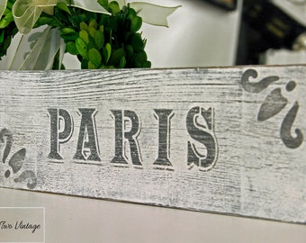SOLD Reclaimed Wood Sign, Hand Painted Wood Sign, Paris Wood Sign