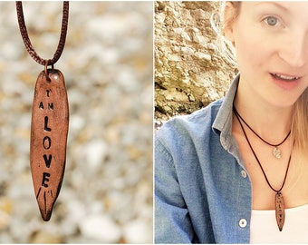 Clay Charm Necklace - Custom Engraved Clay Jewelry