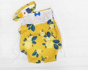Golden Hour - sitter (6-9m) romper in mustard yellow, royal blue, navy blue, yellow and white - includes headband with eyelet lace (RTS)