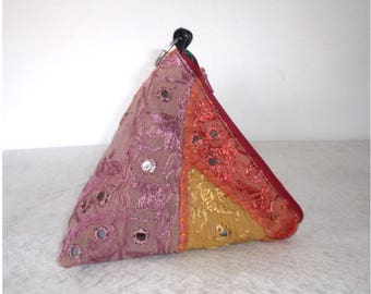 Triangle Pouch, pyramid bags, hippie hand bag, Small Project Bag, Cosmetic Bag. Accessory pouch, travel bag. Gift idea.