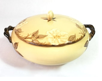 Franciscan CAFE ROYAL 2.5 Quart Round Covered Casserole Dish - Brown Desert Rose Serving Dish with Lid - Fall Winter Holiday Table