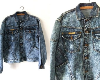 Joey Fresco Acid Wash Jean Jacket - Over Dyed Slouchy fit Trucker Jacket 90s Denim Jacket - Mens Medium