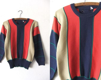 Wide Stripe Color Block Ski Sweater - 80s Preppy Grunge Style Contrast Piping Vintage Jumper - Womens Small