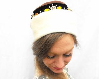 1950s Citrine & Diamond Fur Pillbox Hat Designer Originals by Michael Terre Southern California Italian Cream Velvet Angora Mohair Millinery
