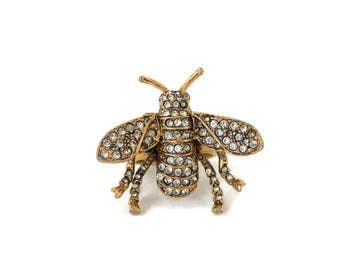 Bumble Bee Ring by Kenneth Jay Lane  Pave Crystal Goldtone Metal Vintage KJL 1980's Designer Jewelry Summer Fashion