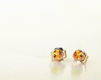 Pumpkin Spice Natural Citrine Stud Earrings- November Birthstone, Citrine Earrings, Citrine Studs, stud earrings, gold earrings, Handmade