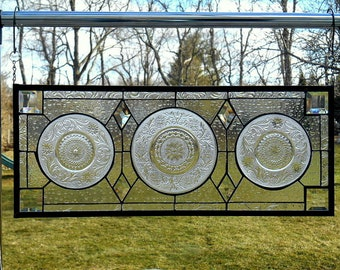 Stained Glass Panel with Vintage Plates