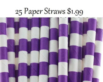 Dark Purple Sailor Striped Paper Straws