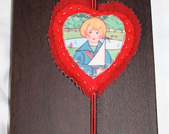 Bookmark,  Felt and Fabric,  handmade unique Bookmarks,Heartfelts TM, boy, boat, heart, red blue