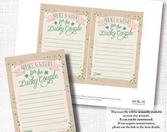 LUCKY IN LOVE Irish St Patrick's Day bridal wedding Advice and Wishes card instant digital download diy printable file