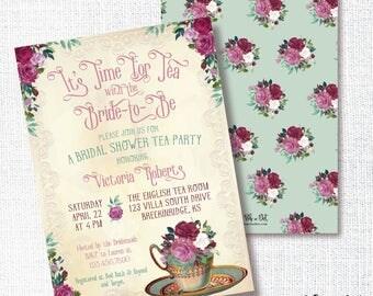 VINTAGE ENGLISH TEA cup party bridal shower invitation floral watercolor flower brunch wedding luncheon dusty rose marsala seafoam