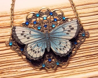 Blue and Bronze Victorian Butterfly Necklace