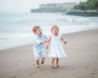 Girls White Beach Dress, Ivory beach dress, flower girl dress, beach photo dress, solid white ivory, timeless, summer dress, Shelby Jane,