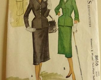Vintage McCall's Pattern 8616 Misses Two Piece Suit Size 12