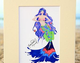 Mademoiselle Mermaid Art Print - Bohemian Mermaid Fashion Illustration - Beach House Decor - 4x6, 5x7, or 8x10 Fantasy Artwork