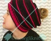 Messy Bun Hat Beanie, Mom Bun Hat Beanie, Custom, Pink and Black, Beehive Style.