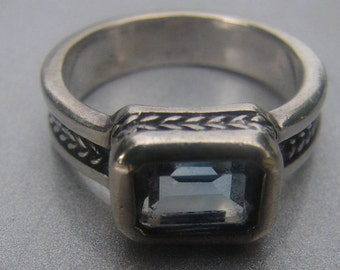 Blue Topaz Ring size 6 3/4. 348.