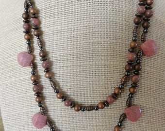 Pink Rhodonite and Copper Layered Necklace