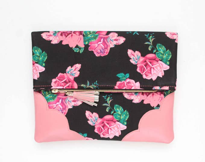 Flower clutch purse -leather bag - folded nature inspired purse- tassel pull bag- black pink red pastel- roses- Ready to Ship/FLOWERET 56