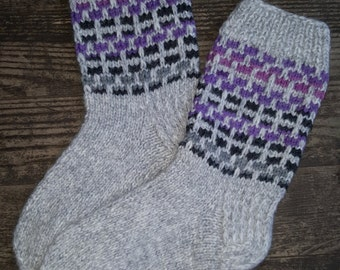Hand Knitted Wool Socks -Colorful Wool Socks for Women - Size Medium-US W7,EU38
