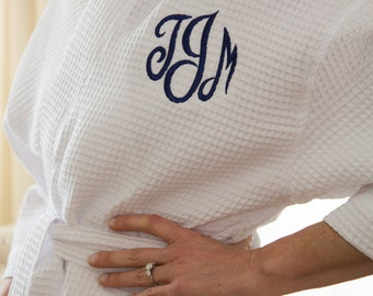 Monogrammed Robes Bridesmaids – Cotton Kimono Waffle Weave Robe in 10 Colors
