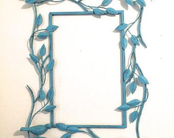 Turquoise Blue Open Metal Frame w/Birds - Blue Wall Decor - Indoor/Outdoor