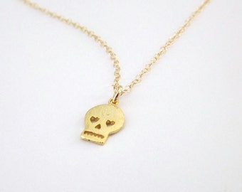 Tiny Gold Skull Necklace 14k Gold Filled Chain