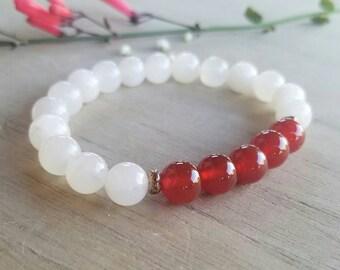 Moonstone and Carnelian FERTILITY Bracelet, Yoga Jewelry, Wrist Mala, Fertility Gift, Fertility Stones, Yoga Bracelet, Spiritual Jewelry