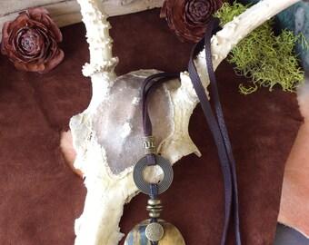 Gemstone Pendant, Tigers Eye Donut Necklace, Boho Gypsy Style, Tribal Fusion, Shaman, Wiccan, Priestess, Goddess, Protection, Unisex