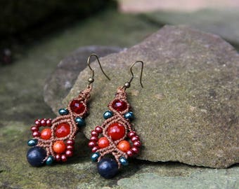 Macrame beaded earrings orange red