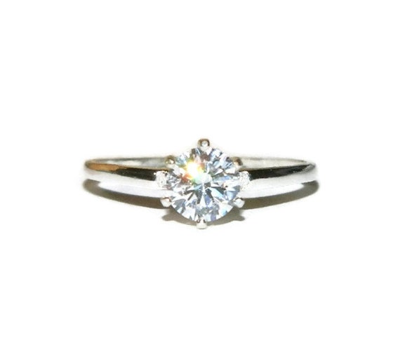 low profile promise ring 1 carat engagement sterling silver