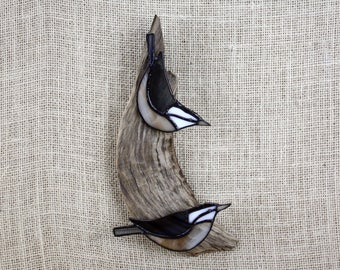 Red Breasted Nuthatch Pair, Birds, Stained Glass Wall Hanging Sculpture, Glass Art