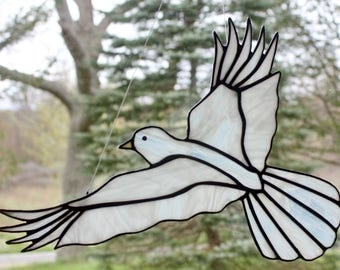 Stained Glass White Dove Bird Large Suncatcher, Peace Dove, Memorial Dove, Wedding Dove, Glass Art