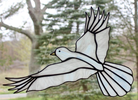 Stained Glass White Dove Bird Large Suncatcher